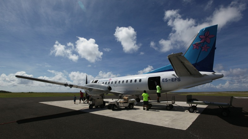 Arriving in Aitutaki (plane on Tarmac)