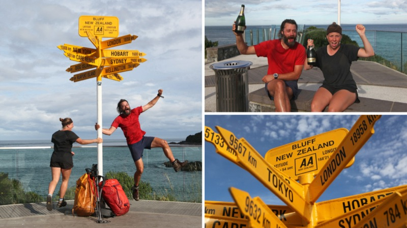 Nicky & Cookie Jumping For Joy at Bluff Signpost, The End of New Zealand
