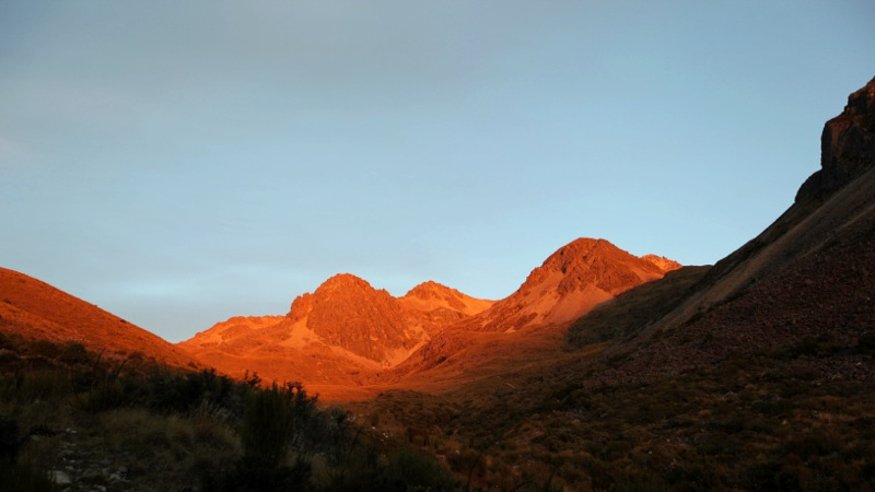Glowing Red Morning Mountains