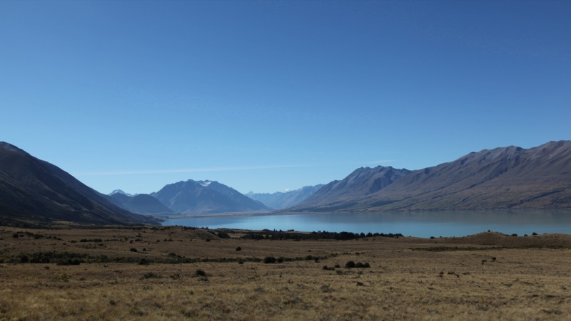 View over Lake Ohau toward Mt Cook