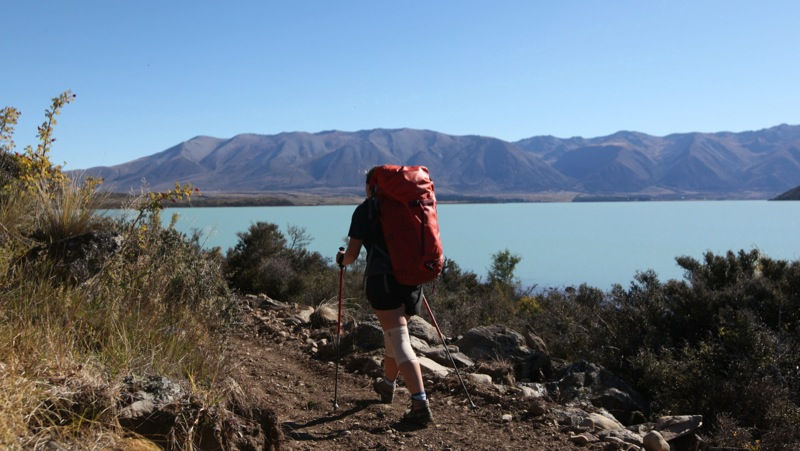 Nicky Walking Along Lake Ohau