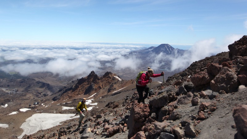 Mum and Dad Climbing with Mt. Doom in the Background