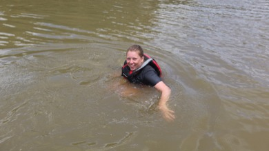 Nicky swimming in Whanganui River