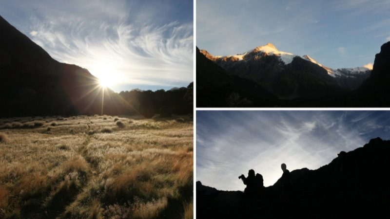 Sunrise at Top Forks Hut, Aspiring National Park NZ
